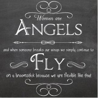 Las mujeres son ángeles - una placa decorativa de  fotoescultura vertical