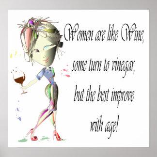 Las mujeres son como el vino, poster divertido del