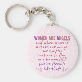 Las mujeres son poema divertido de los ángeles llavero redondo tipo pin