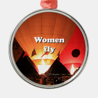Las mujeres vuelan: globo 2 del aire caliente adorno navideño redondo de metal