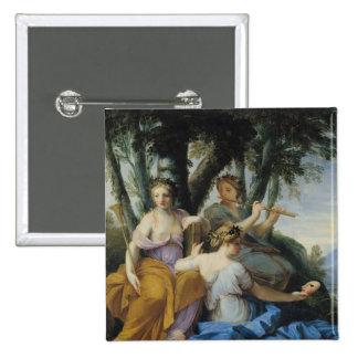Las musas, Clio, Euterpe y Thalia, c.1652-55 Pin Cuadrado