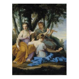 Las musas, Clio, Euterpe y Thalia, c.1652-55 Postal