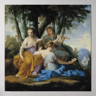 Las musas, Clio, Euterpe y Thalia, c.1652-55 Póster