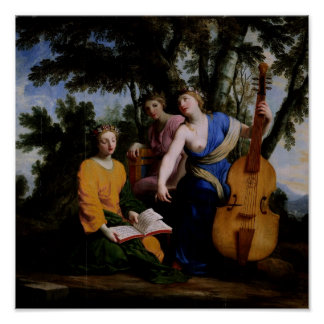 Las musas Melpomene, Erato y Polymnia, 1652-55 Posters