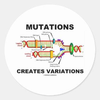 Las mutaciones crean variaciones pegatina redonda