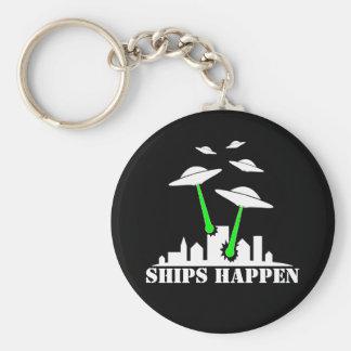 Las naves del UFO suceden Llavero Redondo Tipo Pin