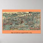 Las naves y los botes pequeños engancharon a batal posters
