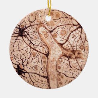 Las neuronas 3 de Cajal Adorno Navideño Redondo De Cerámica