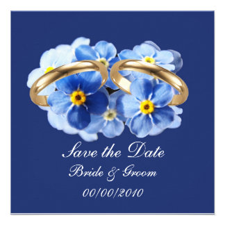 Las nomeolvides ahorran la tarjeta de fecha invitaciones personalizada