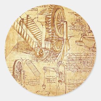 Las notas de da Vinci Etiquetas Redondas
