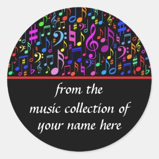 Las notas de la música personalizaron al pegatina