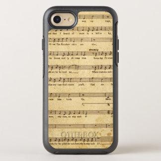 Las notas de la partitura del vintage envejecieron funda OtterBox symmetry para iPhone 7