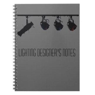 Las notas del diseñador de iluminación libreta espiral