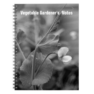 Las notas del jardinero vegetal del cuaderno