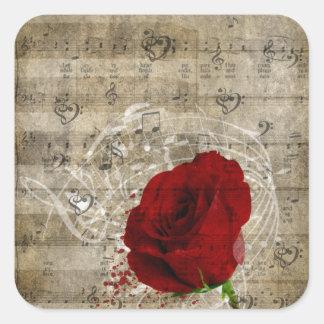 Las notas hermosas de la música del rosa rojo pegatina cuadrada