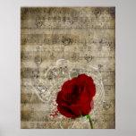 Las notas hermosas de la música del rosa rojo remo poster