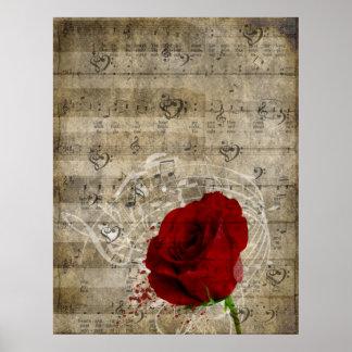Las notas hermosas de la música del rosa rojo remo póster