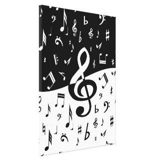 Las notas musicales al azar elegantes diseñan en n impresiones de lienzo