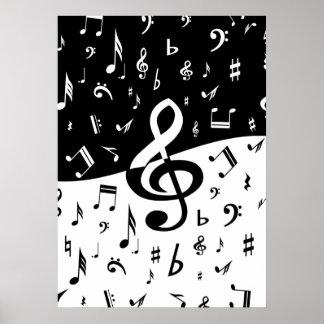 Las notas musicales al azar elegantes diseñan en n impresiones