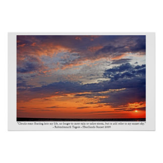 Las nubes añaden color a mi puesta del sol poster