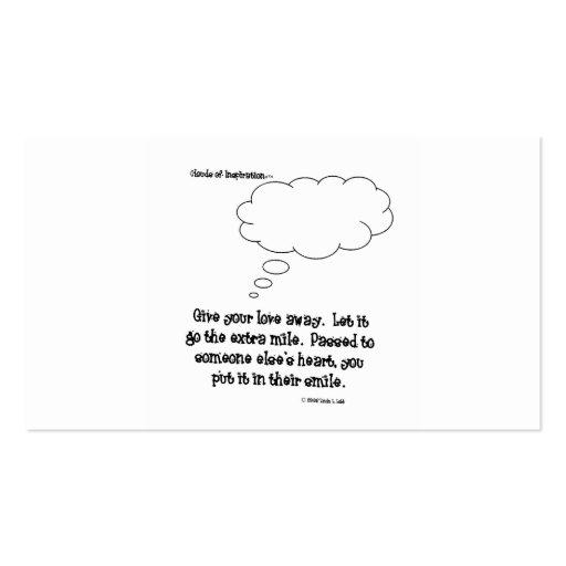 las nubes de la inspiración dan su amor lejos tarjetas de visita