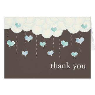 Las nubes y la niña de los corazones le agradecen  tarjeta pequeña
