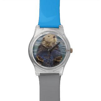 Las nutrias de mar juegan en los icebergs en la en relojes de mano