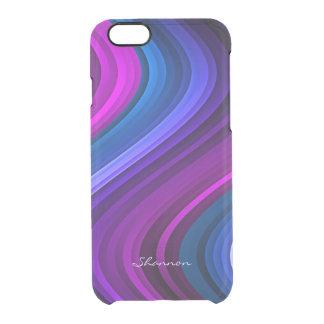 Las ondas de la púrpura y del azul despejan el funda clearly™ deflector para iPhone 6 de uncommon