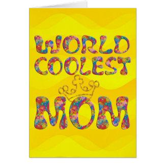 Las ondas más frescas del amarillo de la mamá el | tarjetas