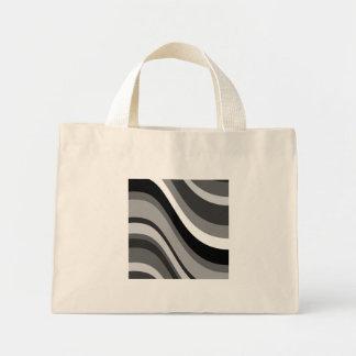 Las ondas modernas retras, curvas ennegrecen gris, bolsa de tela pequeña