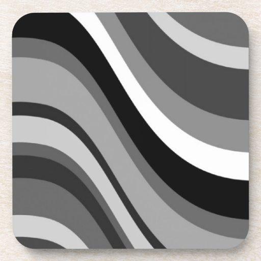 Las ondas modernas retras, curvas ennegrecen gris, posavaso
