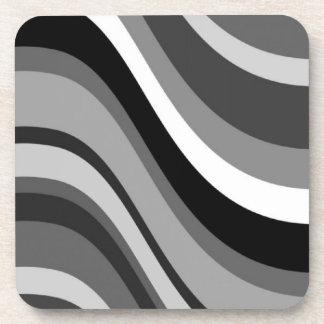 Las ondas modernas retras, curvas ennegrecen gris, posavasos de bebidas