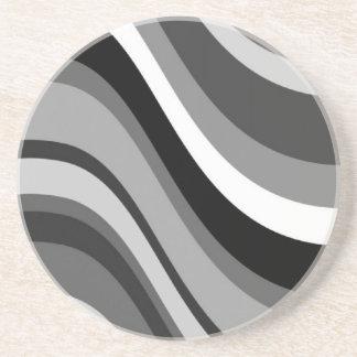 Las ondas modernas retras, curvas ennegrecen gris, posavasos personalizados