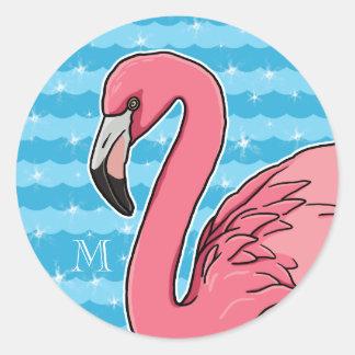 Las ondas rosadas del flamenco y del azul, añaden pegatina redonda