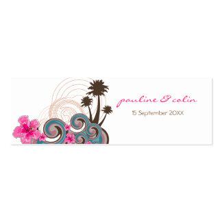 Las ondas tropicales y los hibiscos rosados le agr tarjetas de visita