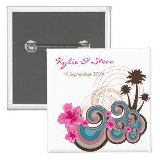Las ondas tropicales y los hibiscos rosados nombra pin cuadrado