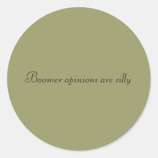 Las opiniones del nacido en el baby-boom son pegatina redonda
