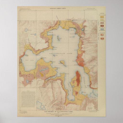 Las orillas del lago Yellowstone Posters