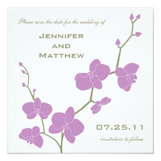 """Las orquídeas ahorran la fecha - aceituna y invitación 5.25"""" x 5.25"""""""