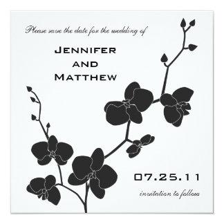 """Las orquídeas ahorran la fecha - blanco y negro invitación 5.25"""" x 5.25"""""""