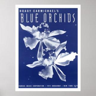 """Las orquídeas """"azules """" de Carmichael del Hoagy Póster"""