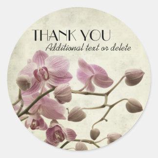 Las orquídeas elegantes le agradecen pegatina redonda