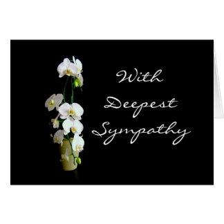 Las orquídeas más profundas del blanco de la tarjeta de felicitación