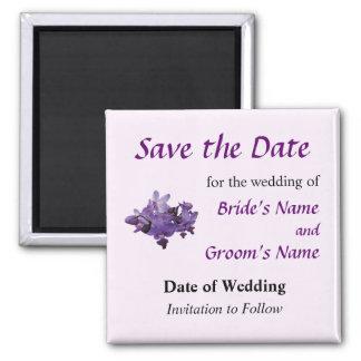 Las orquídeas púrpuras delicadas ahorran la fecha imán cuadrado