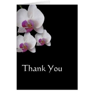 Las orquídeas rosadas le agradecen observar tarjeton