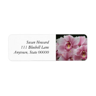 Las orquídeas rosadas se cierran para arriba etiqueta de remite