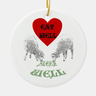 """Las ovejas """"comen bien para dormir bien """" adorno redondo de cerámica"""