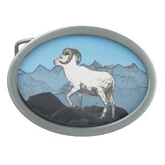 Las ovejas de Dall Hebilla De Cinturón Oval