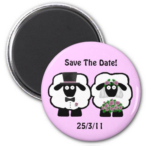 Las ovejas del boda ahorran el imán de la fecha