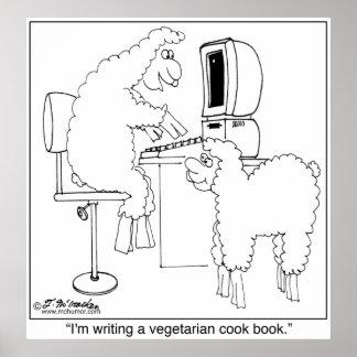 Las ovejas escriben el libro del cocinero del Vegg Póster